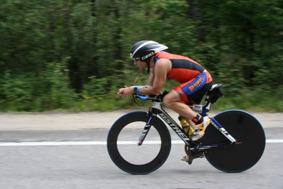 Trent powering on the bike